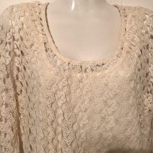 Charlotte Russe women's laced fringe cream dress L
